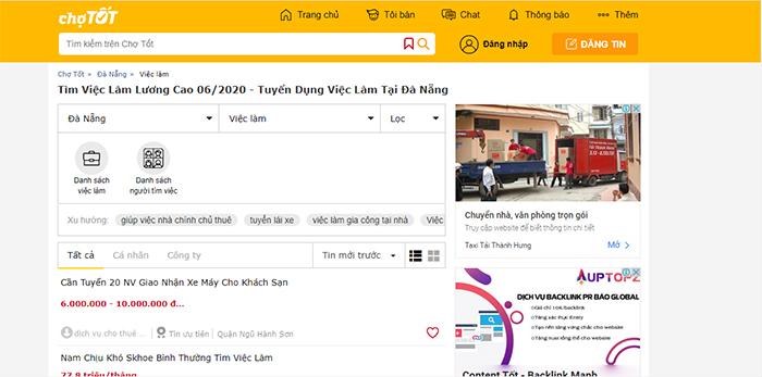Chợ tốt website tìm kiếm việc làm tại Đà Năng uy tín