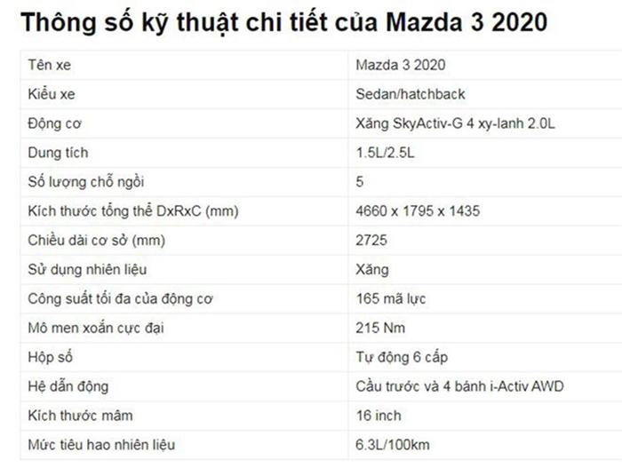 Bảng thông số kỹ thuật xe Mazda 3 2020